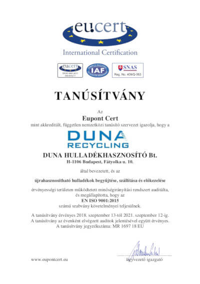 DUNA_HULLADÉKHASZNOSÍTÓ Bt. MA - Tanúsítvány MIR magyar - dunarecycling.hu