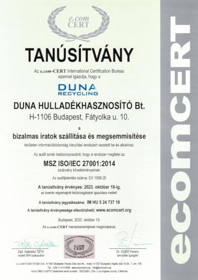 Duna Hulladékhasznosító Bt EX 1958.20 IBIR T - dunarecycling.huAN HU